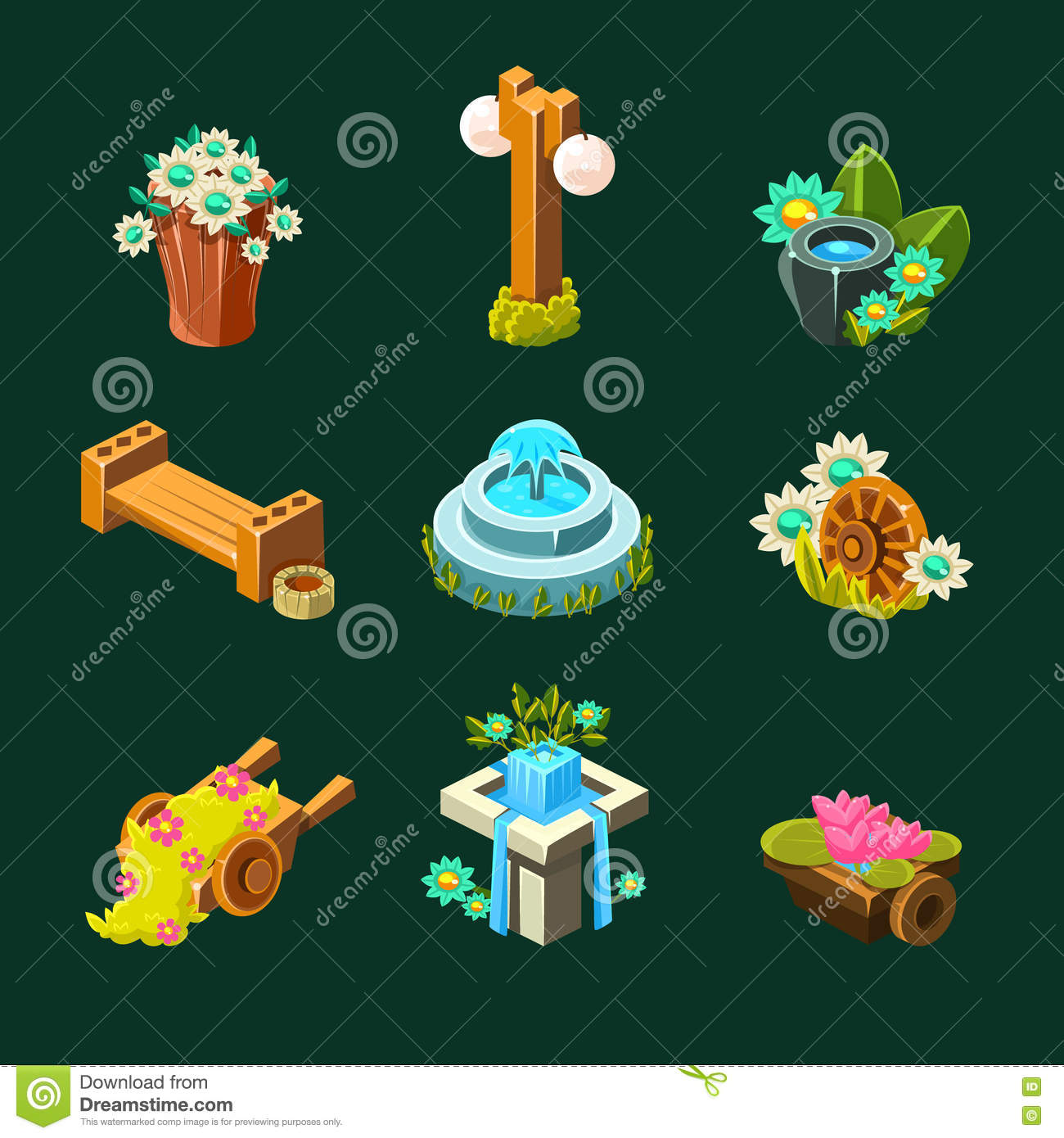 Garden Design Games Collection Video Game Garden Decoration Collection Of Elements Stock Vector .