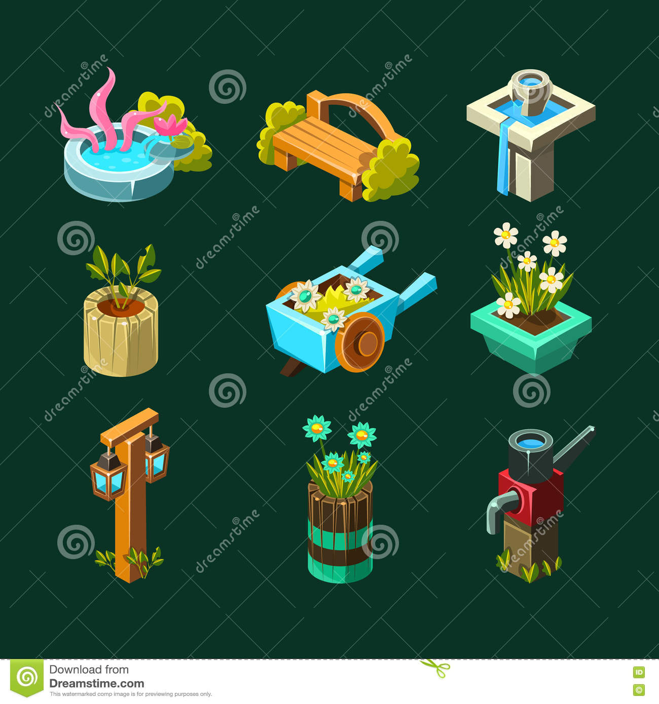Garden Design Games Collection Video Game Garden Design Collection Of Elements Stock Vector .