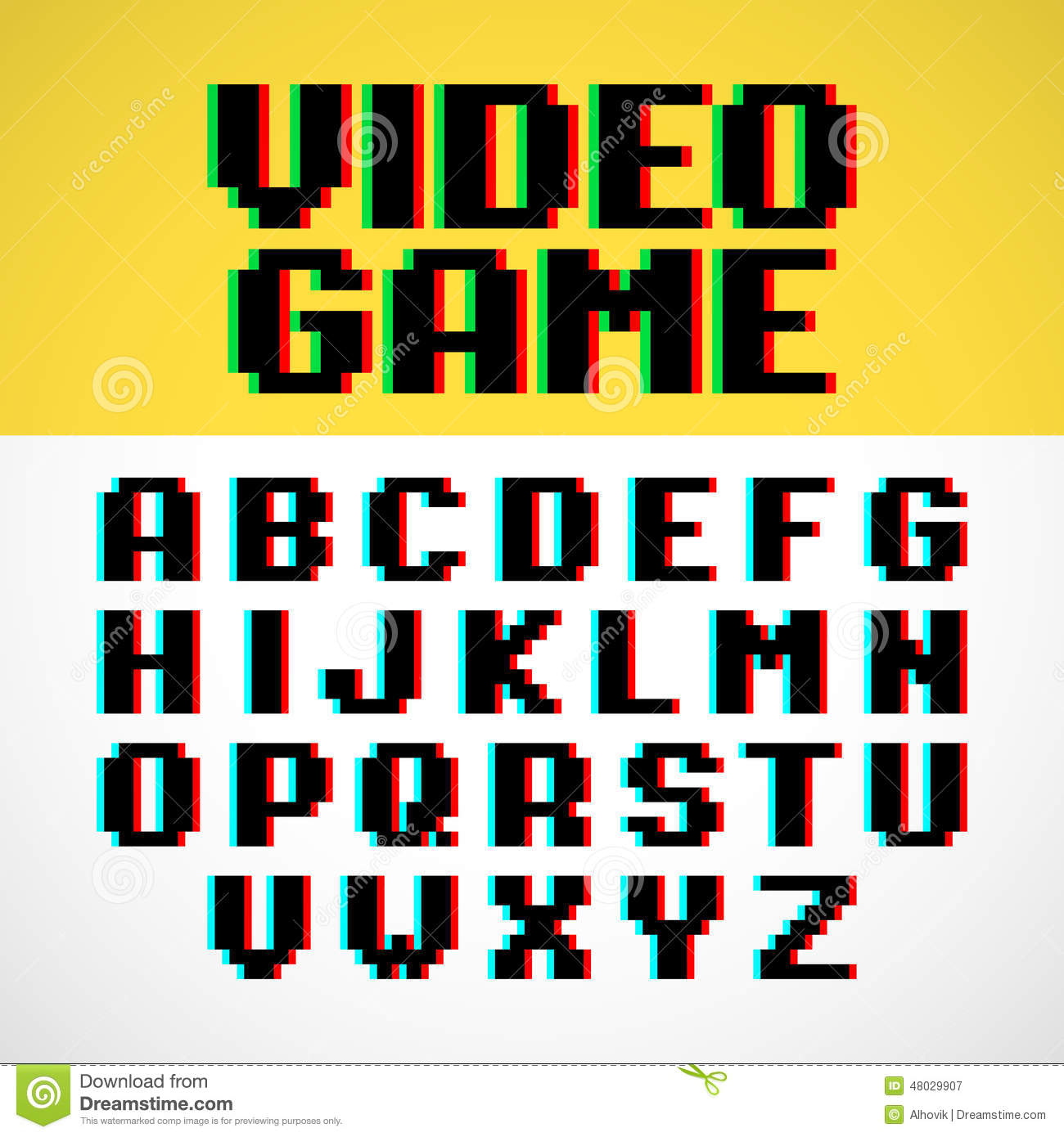 Video Game Pixel Font Stock Vector