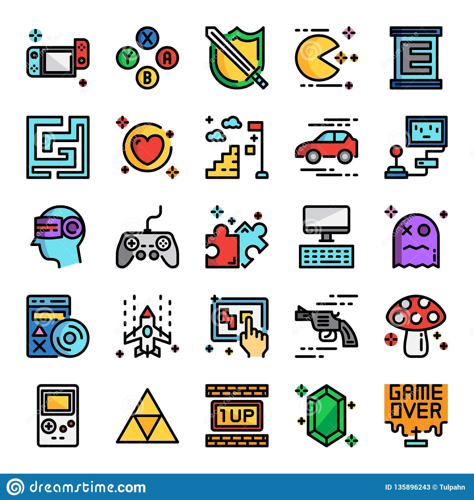 Video Game Pixel Perfect Color Line Icons Stock Vector ...