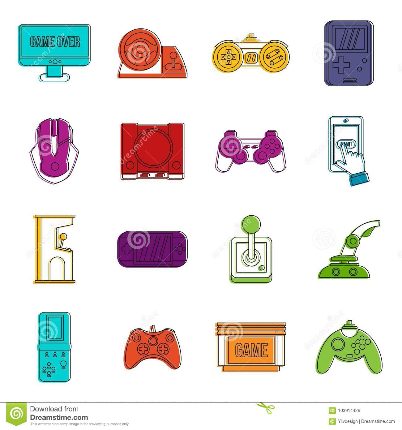Video Game Set Outline Style Stock Vector Illustration Of Button - Video game outline