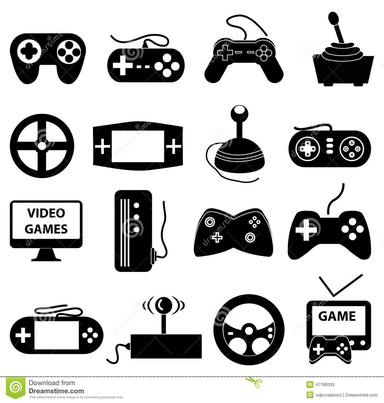 Video games icons set