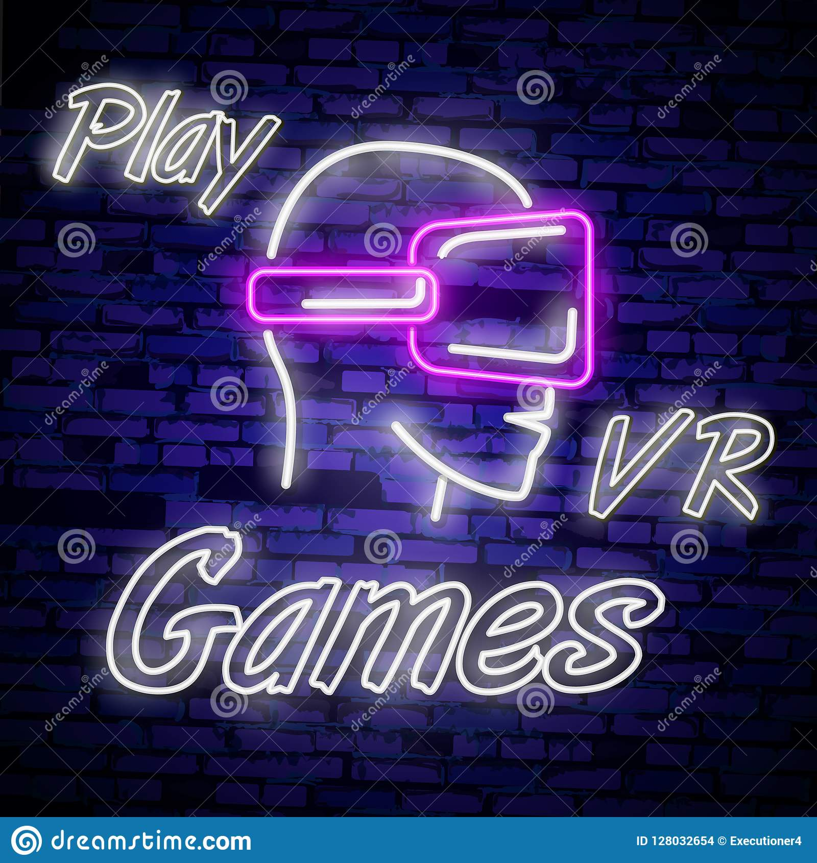 Video Games logos collection neon sign Vector design template. Conceptual Vr games, Retro Game night logo in neon style, gamepad i