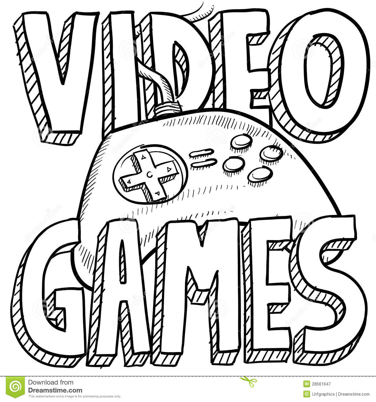 Video Games Sketch Stock Vector Image Of Illustration