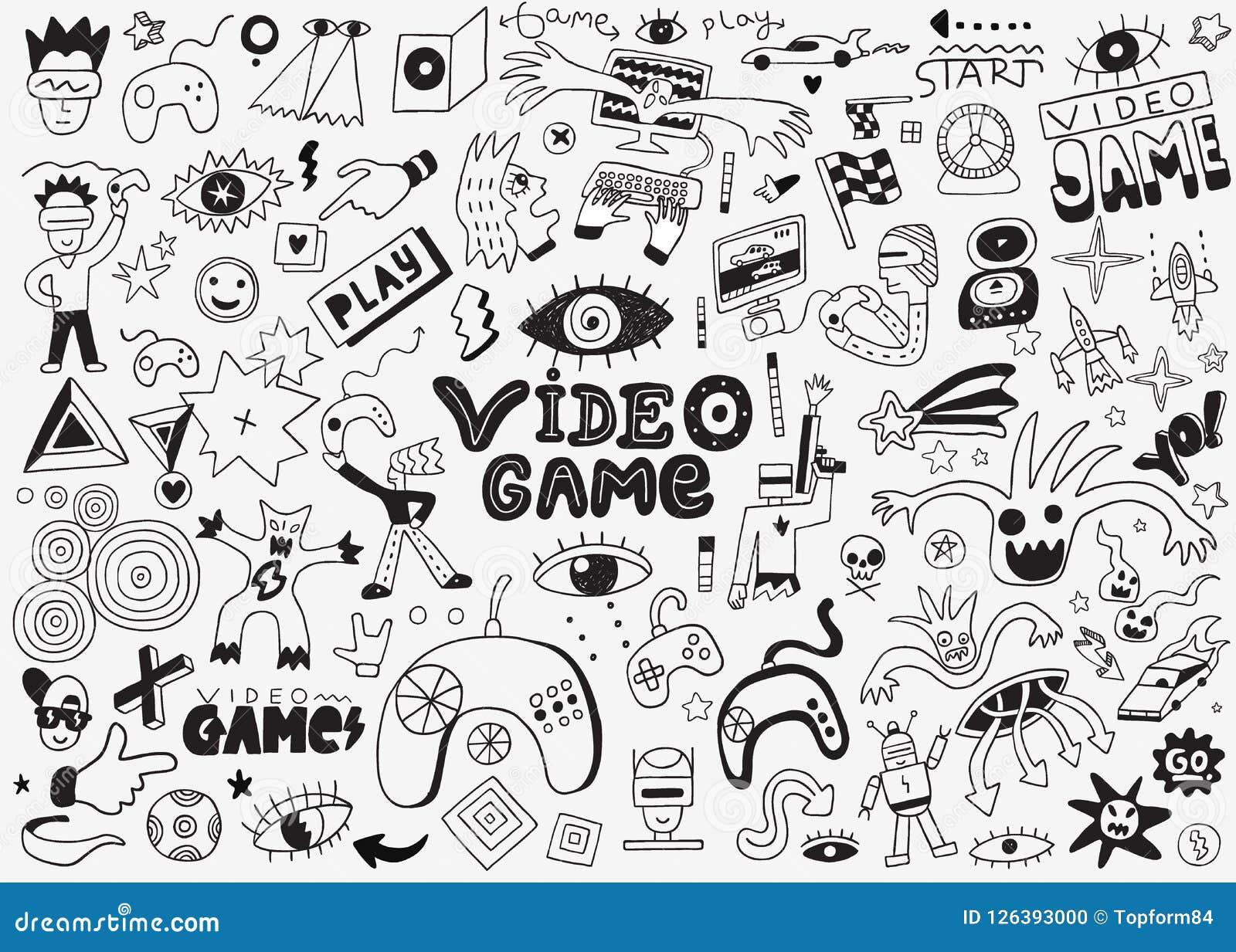 Video Games Vector Doodle Set Pencil Drawings Stock Vector