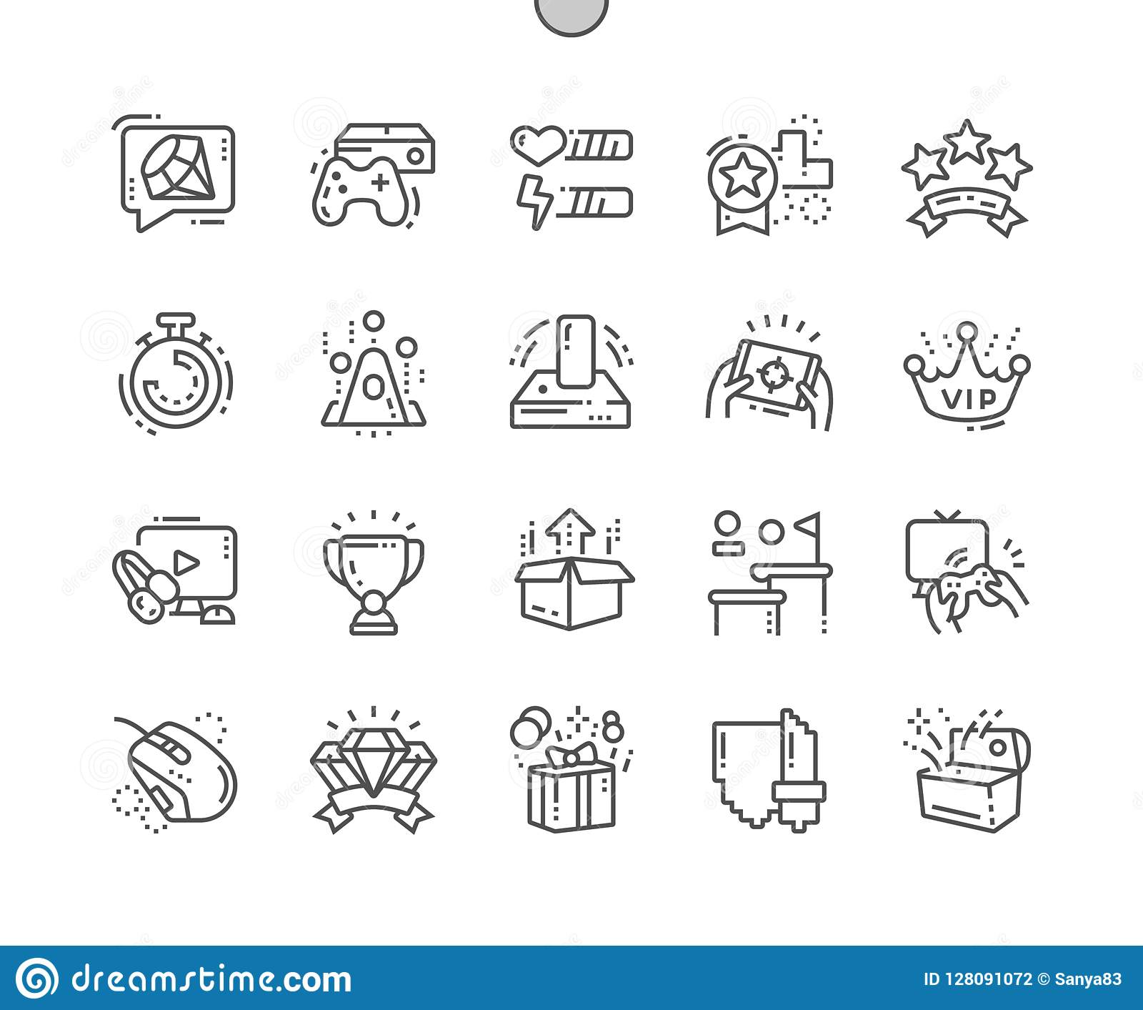 Video Games Well-crafted Pixel Perfect Vector Thin Line Icons 30 2x