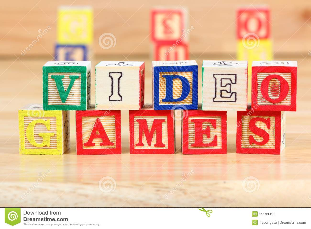 Educational Toys And Games : Video games stock photo image of wood game