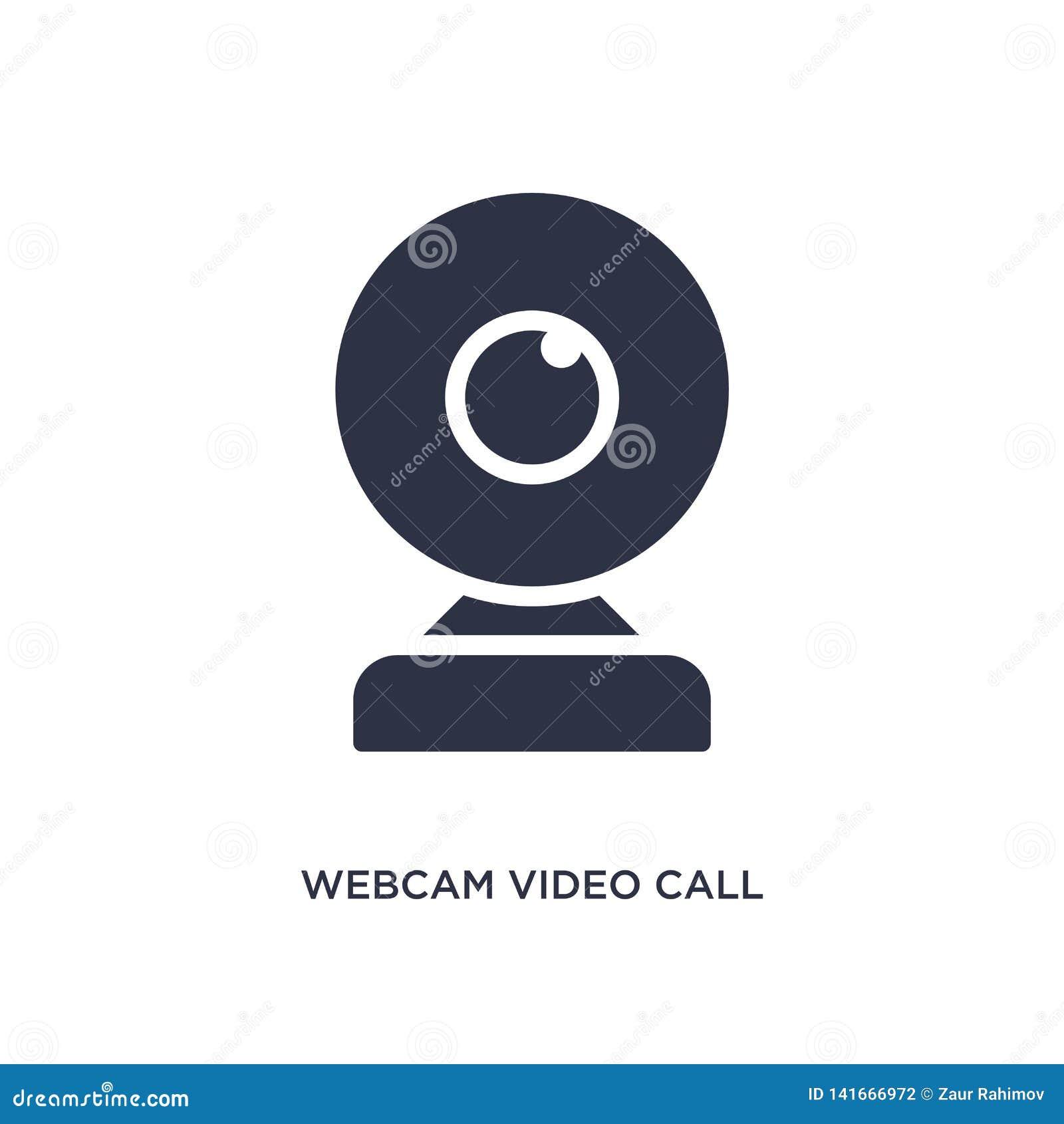 Video icona di chiamata del webcam su fondo bianco r