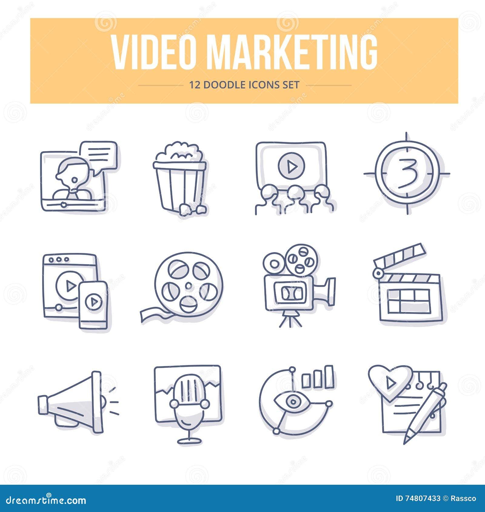 Video Marketing Krabbelpictogrammen
