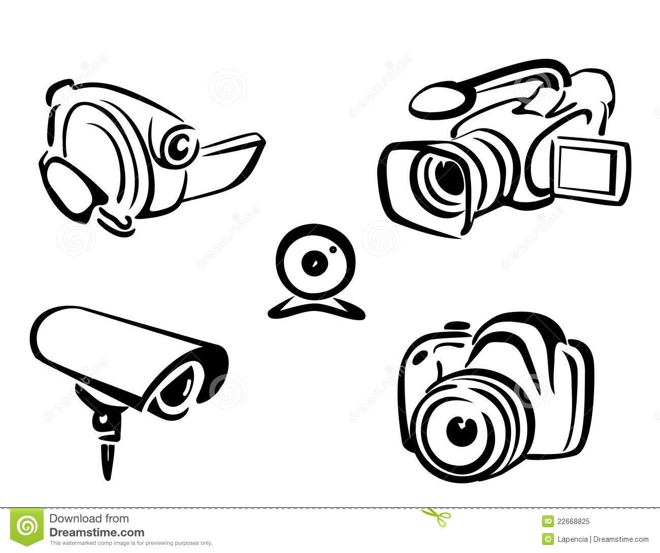 Conhecido Video And Photo Cameras Collection Stock Vector - Illustration of  QR07