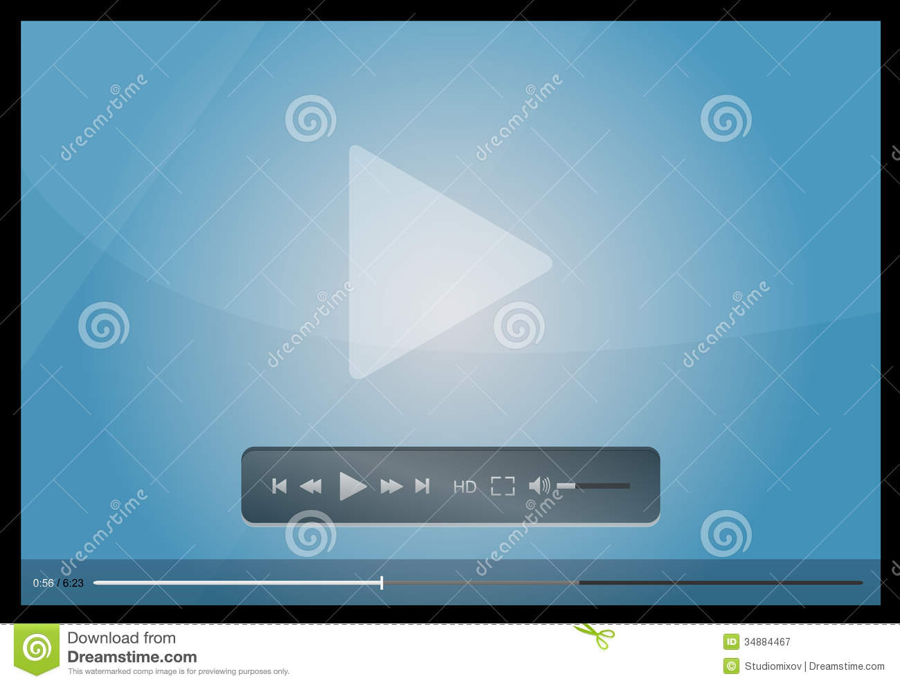 Video player for web, minimalistic design stock vector.