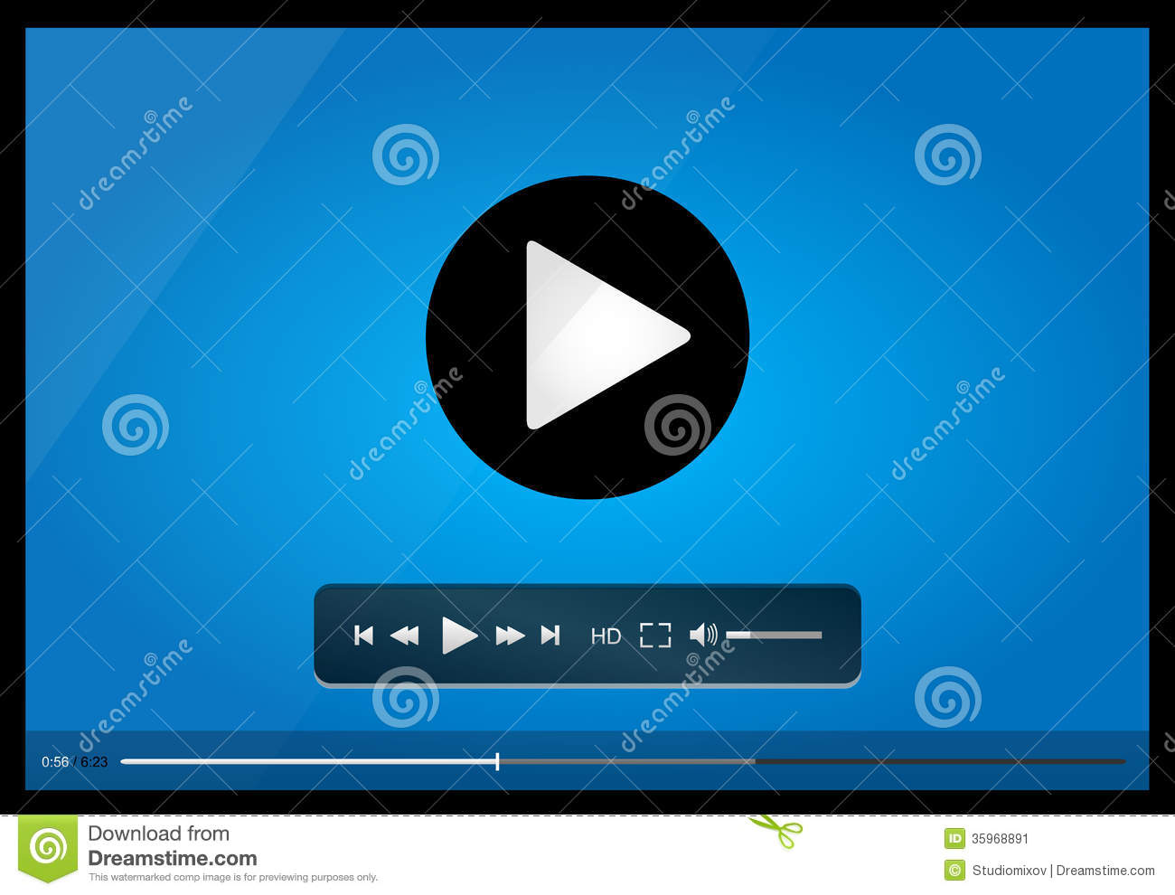 video player for web minimalistic design stock image