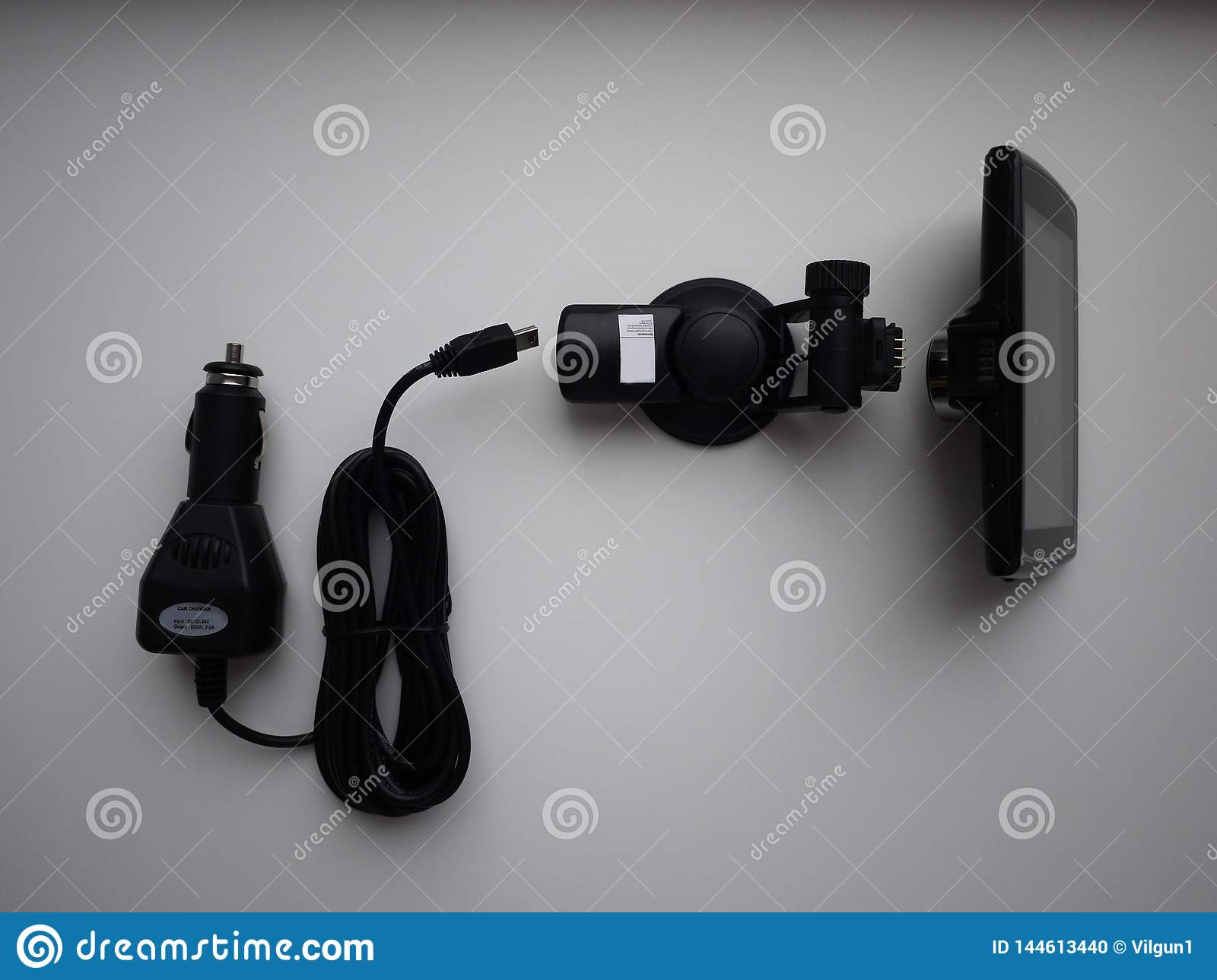 Video recorder for the car. Used to record what is happening on the road. Installed on the windshield. and