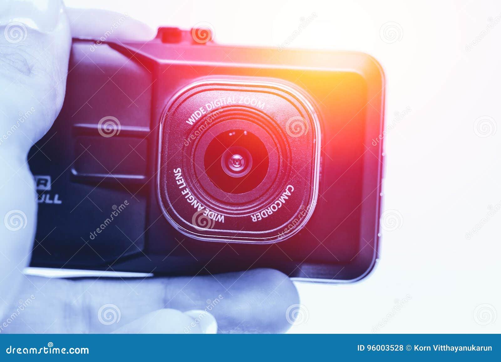 Video registrazione del CCTV della tenuta della mano, camcoder della macchina fotografica