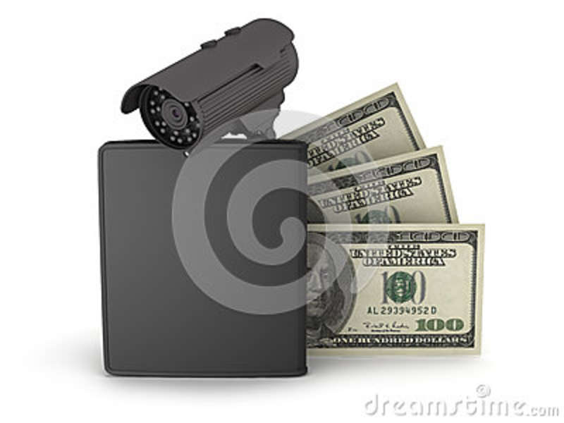 Video surveillance camera, dollars and leather wallet