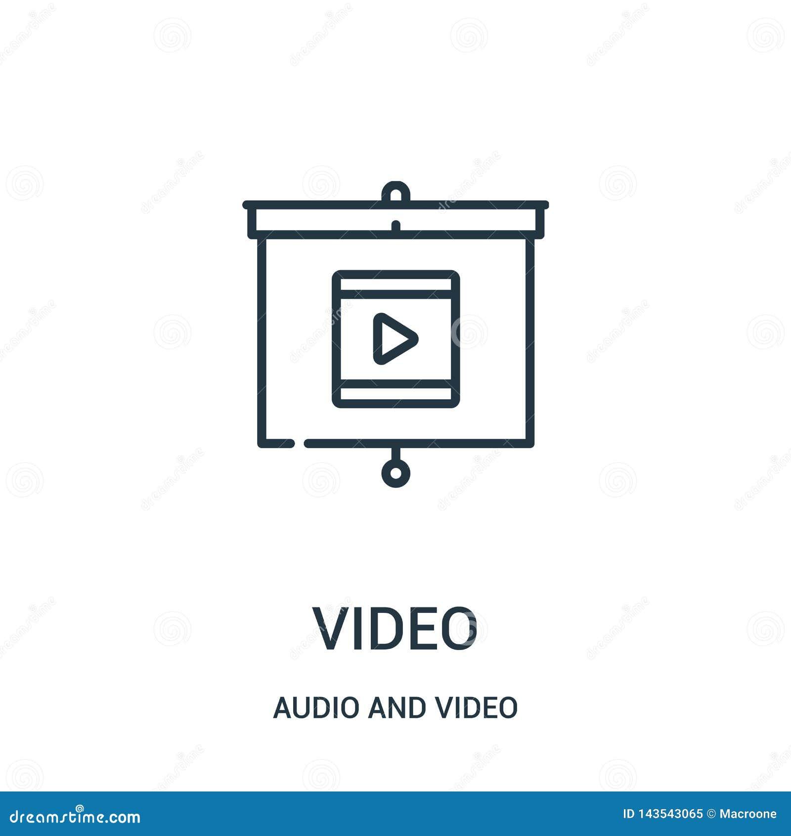 Video symbolsvektor från ljudsignal och video samling Tunn linje video illustration för översiktssymbolsvektor