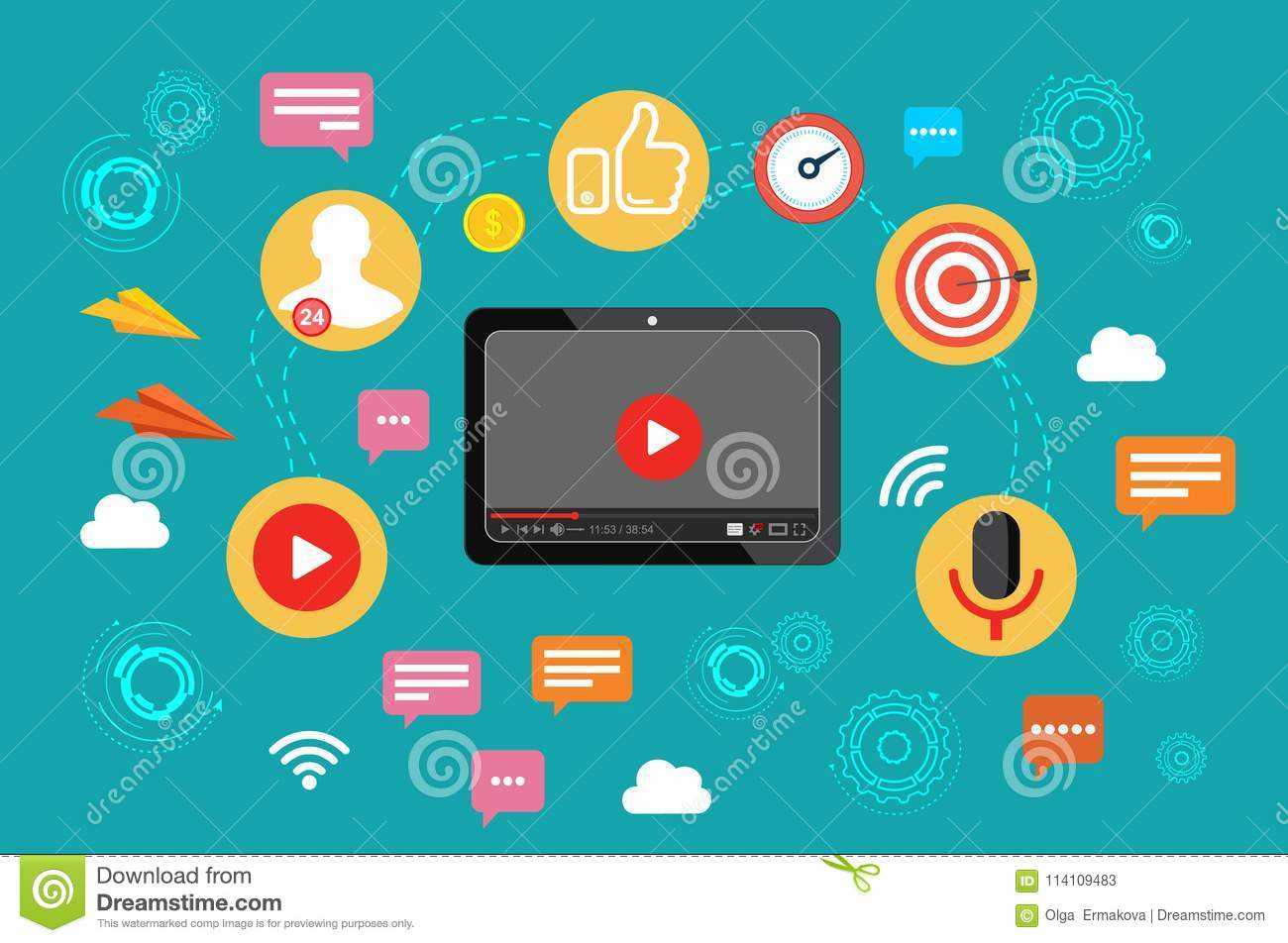 Video. Video broadcast. The concept of video marketing. Vector illustration in flat design.