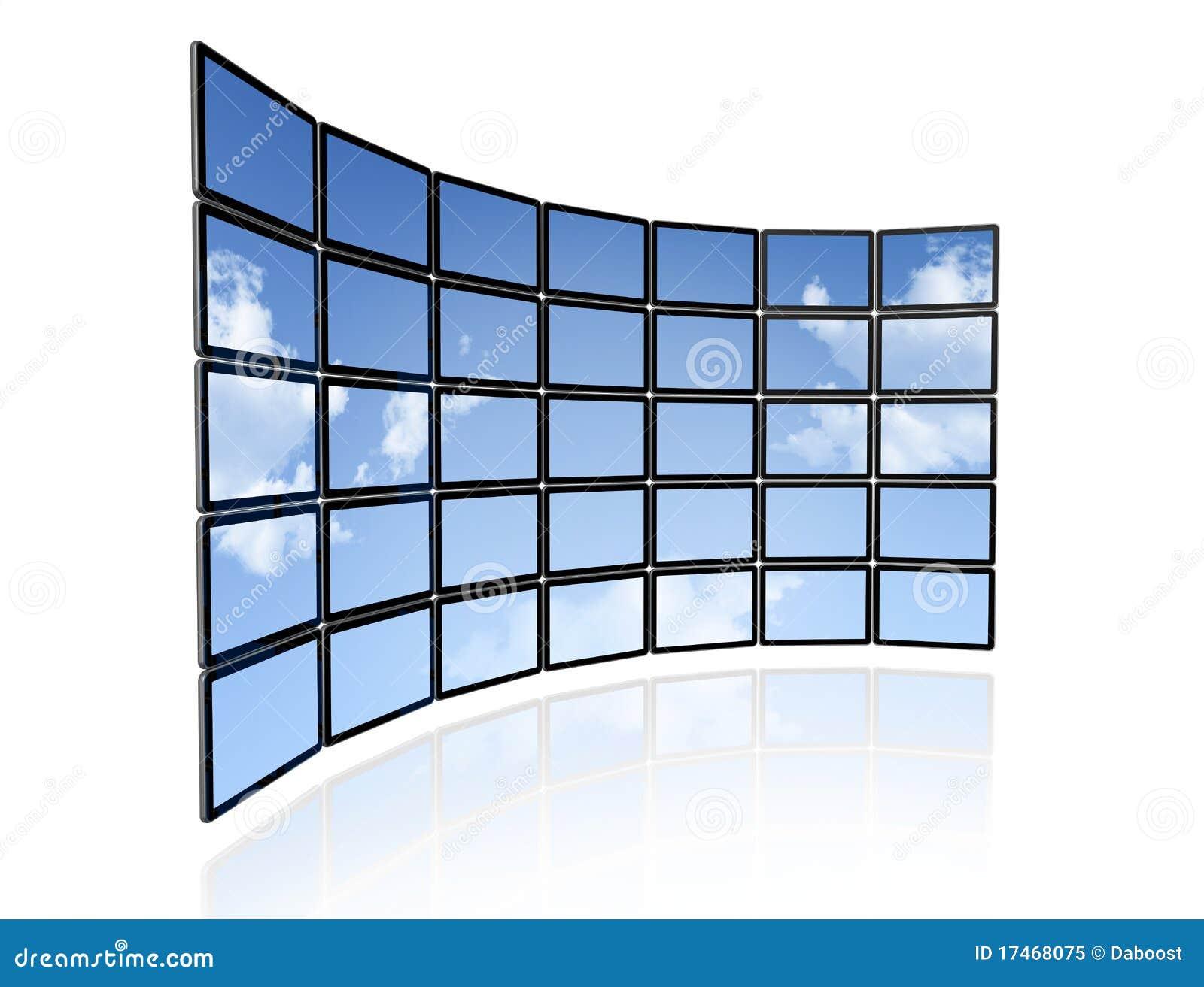 Video wall of flat tv screens