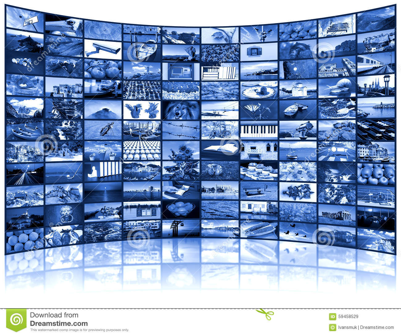 Video wall of TV screen stock image  Image of multi, display