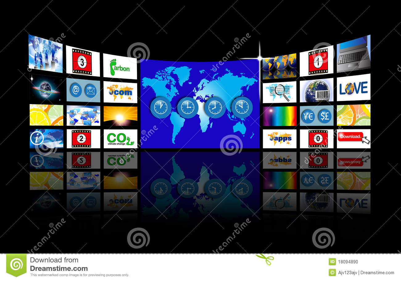 Video Wide Screen Wall Stock Photo Image 18094890