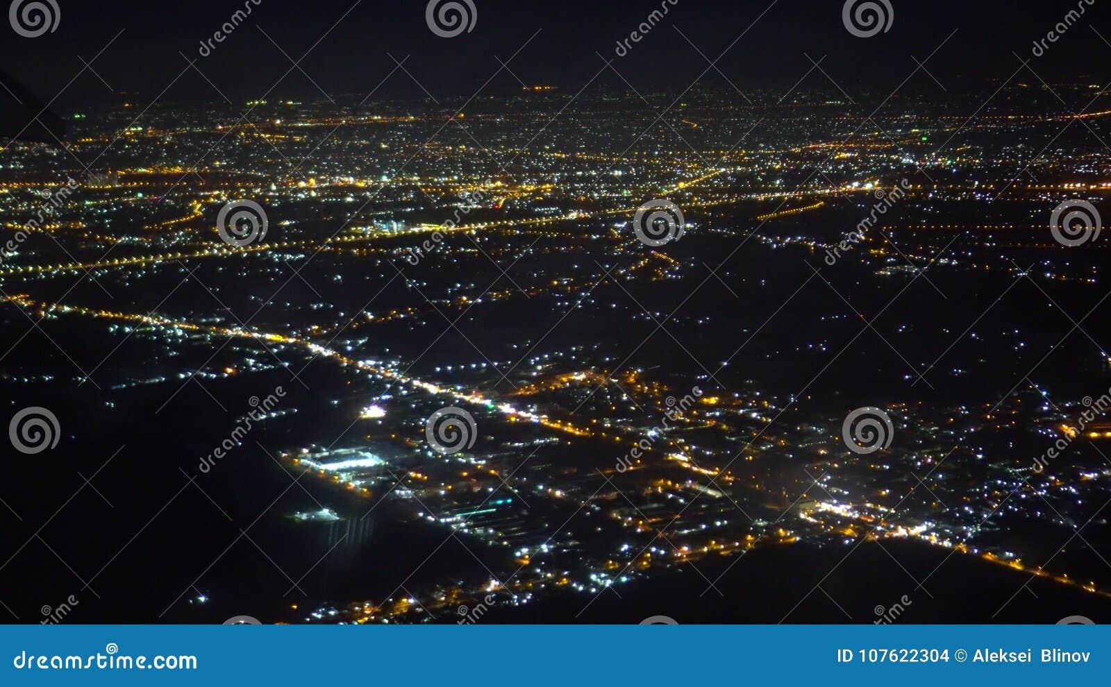 Plane Wing At Night