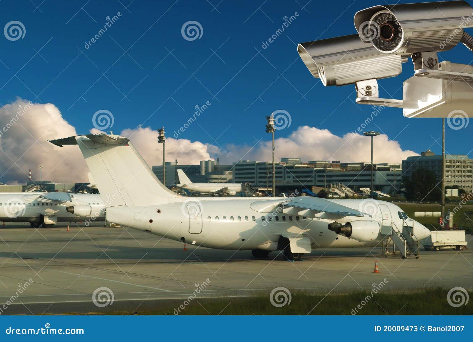 Videocamera di sorveglianza, aeroplani, aeroporto.