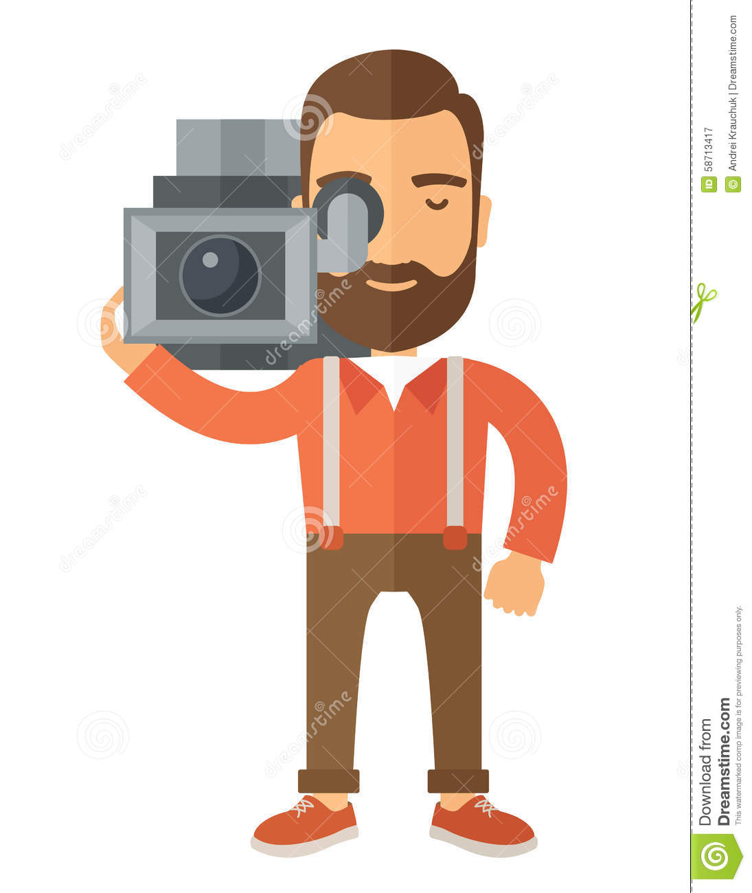 Videographer With His Video Camcorder Stock Photo