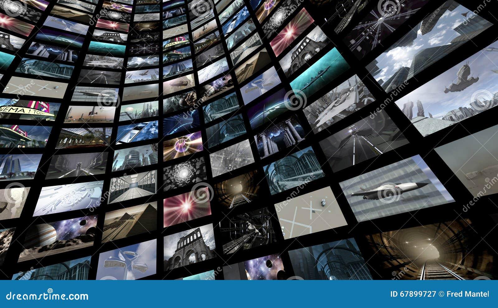 Videomuur met vele het schermbeelden