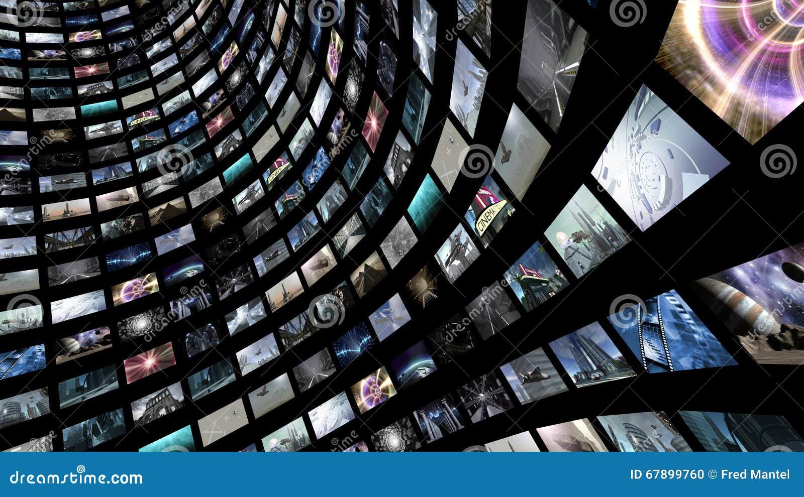 Videomuur met vele kleine monitors