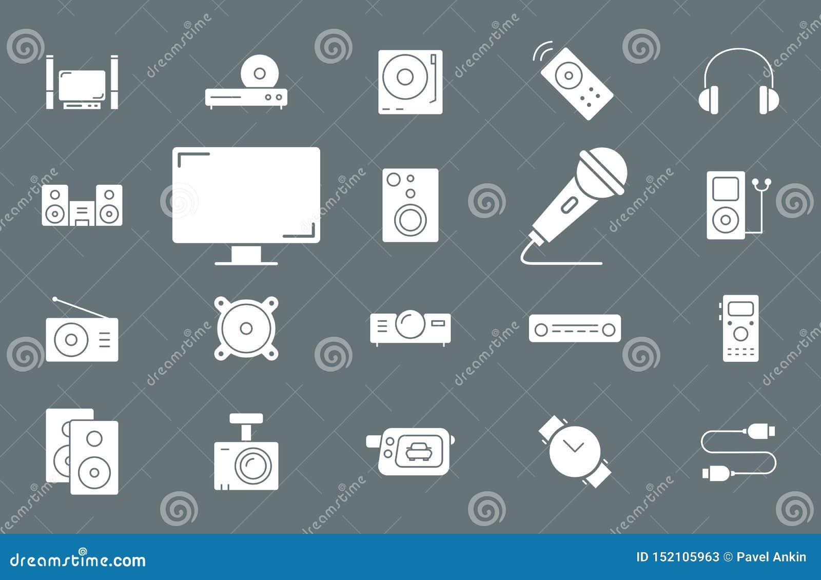 Videopp ljudutrustningsymboler - ställ in rengöringsduk och mobil 02