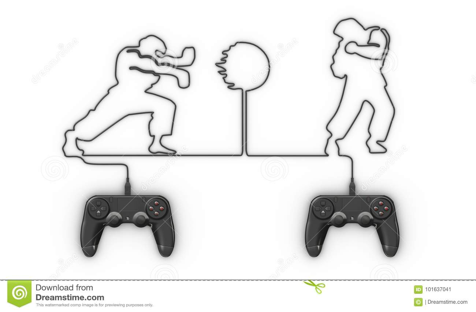 Videospelletjecontrolemechanisme die met kabel vechter vormen
