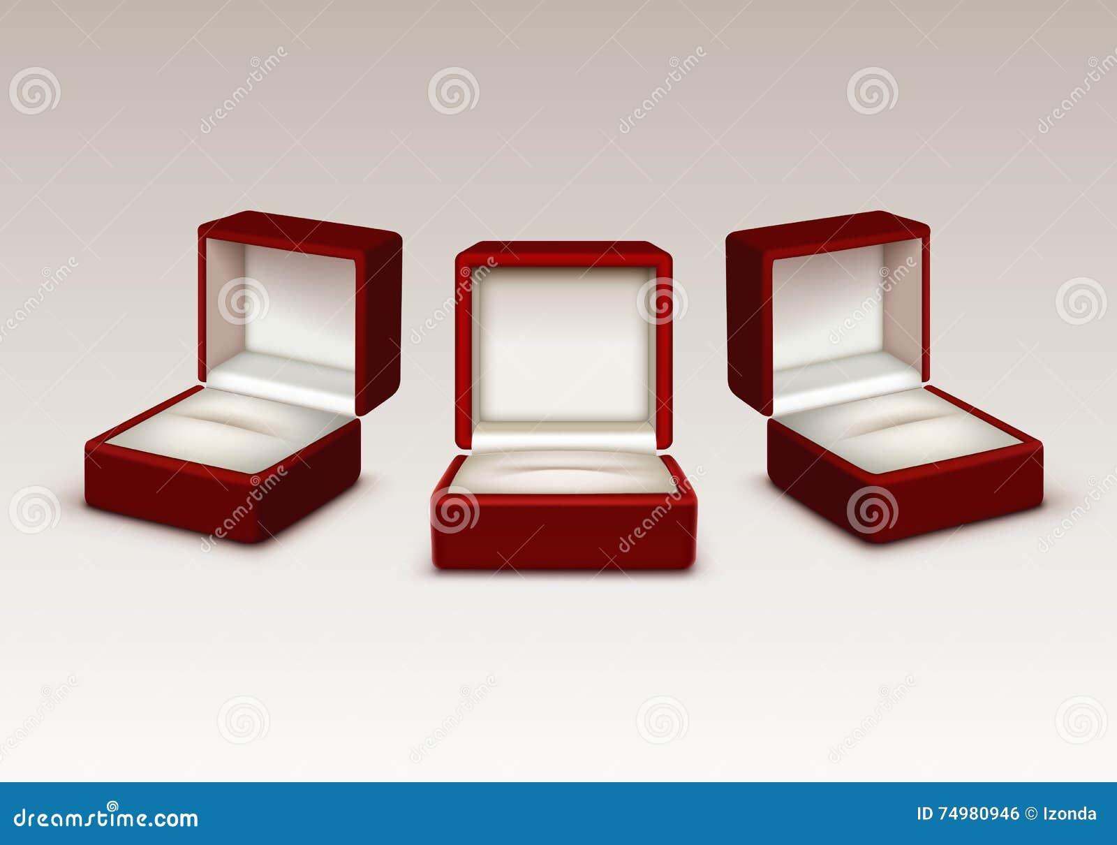 Videz et blanc les boîtes à bijoux de cadeau ouvertes par velours rouge d isolement
