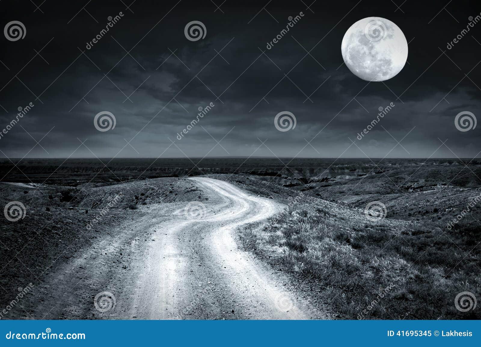 Videz la route rurale passant par la prairie la nuit pleine lune