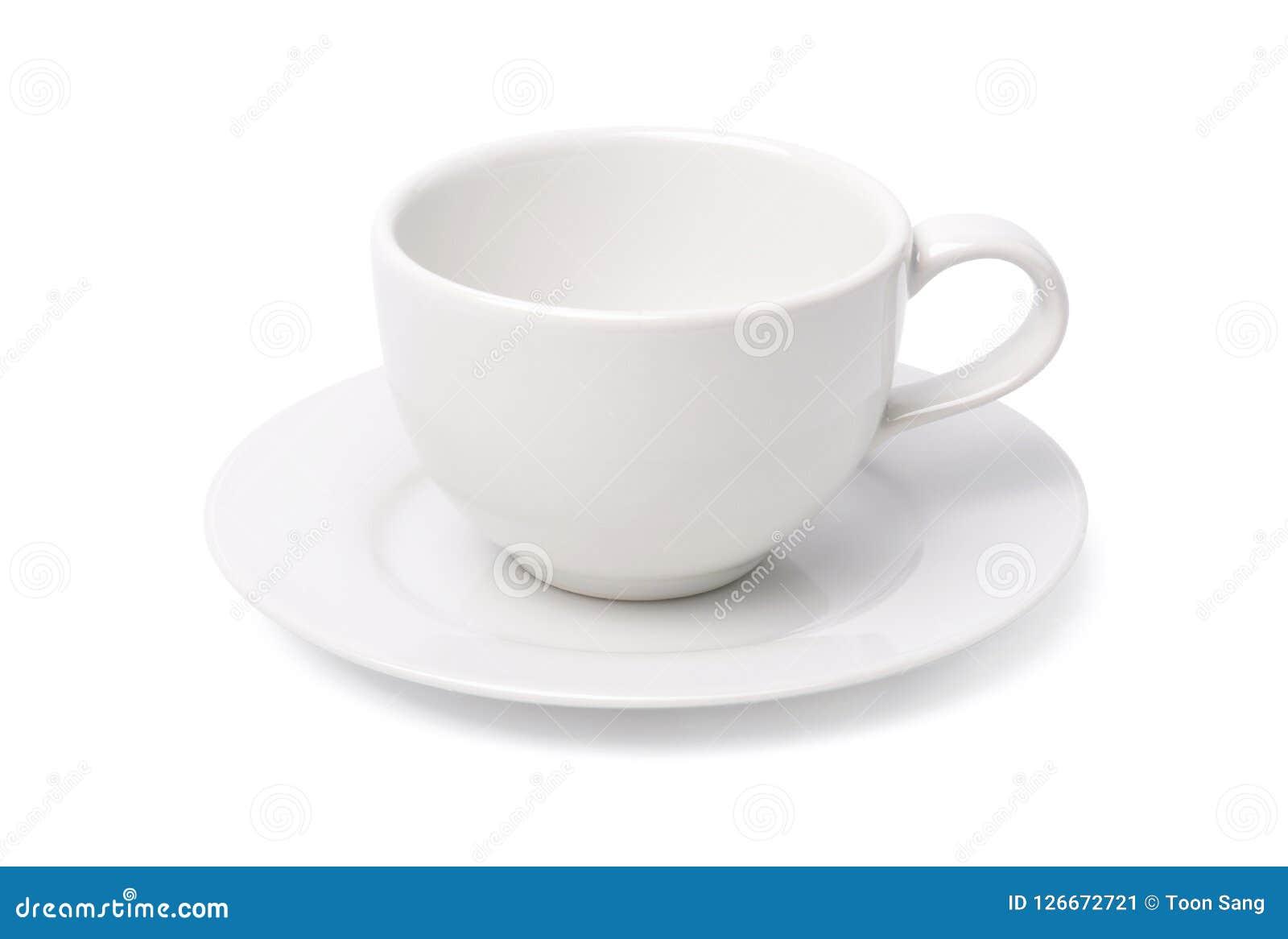Videz la tasse de café blanc d isolement sur le fond blanc