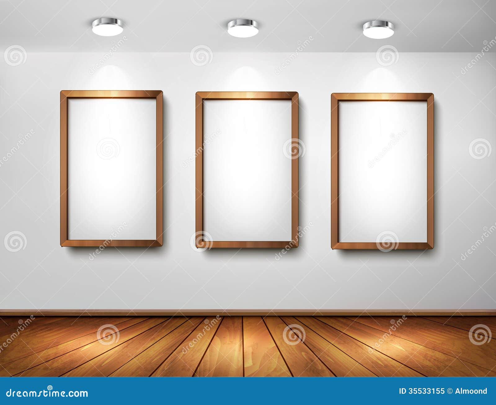 videz les cadres en bois sur le mur avec les projecteurs et l 39 oe illustration de vecteur. Black Bedroom Furniture Sets. Home Design Ideas