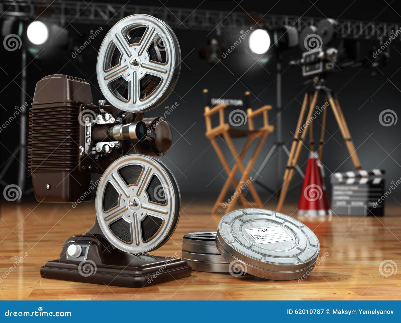 vid o film concept de cin ma projecteur de vintage r tro appareil photo r illustration stock. Black Bedroom Furniture Sets. Home Design Ideas