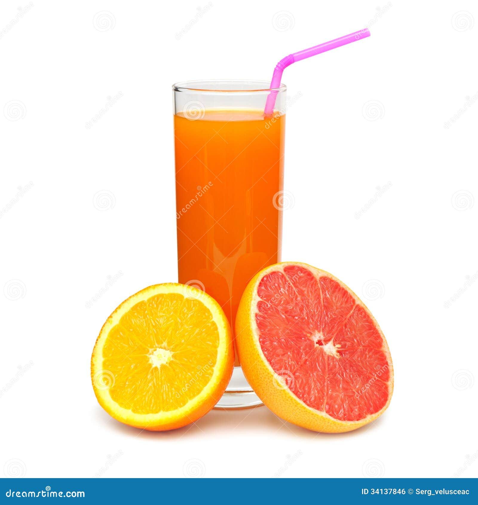 Vidrio con el jugo y la fruta