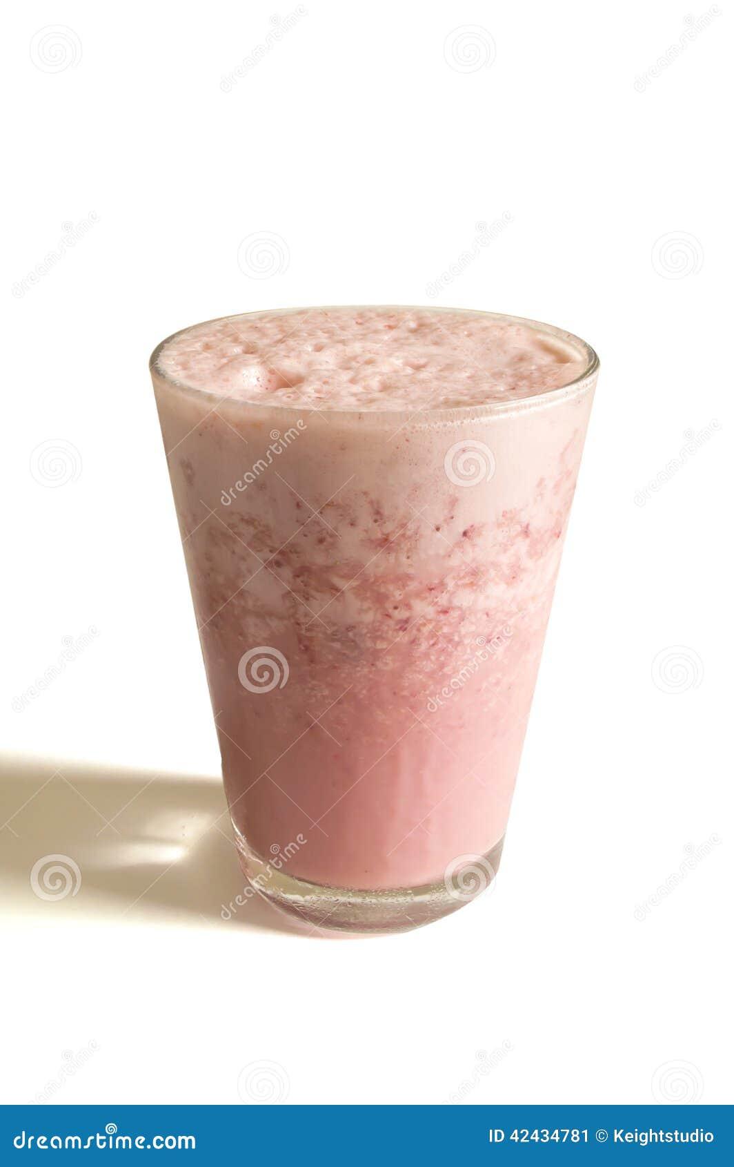 Vidrio de batido de leche de la fresa