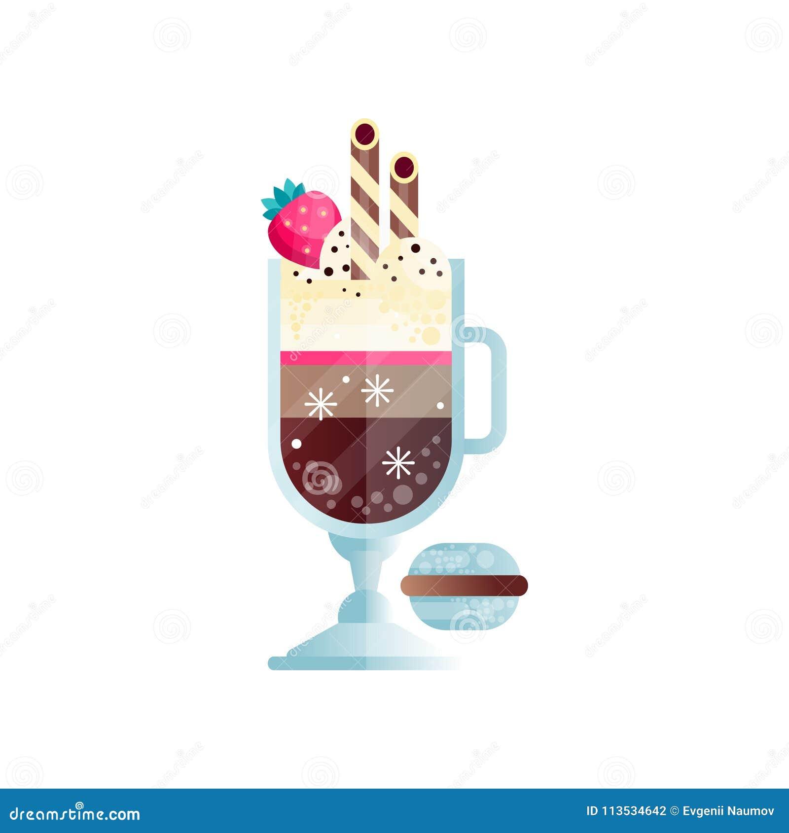 Vidrio de café enfriado con helado y la fresa madura en el top Bebida sabrosa con las pajas de beber Bebida deliciosa