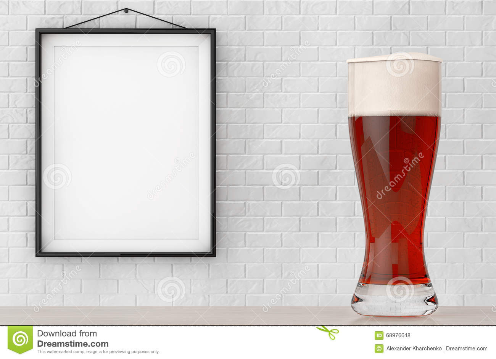 Vidrio de cerveza delante de la pared de ladrillo con el marco en blanco