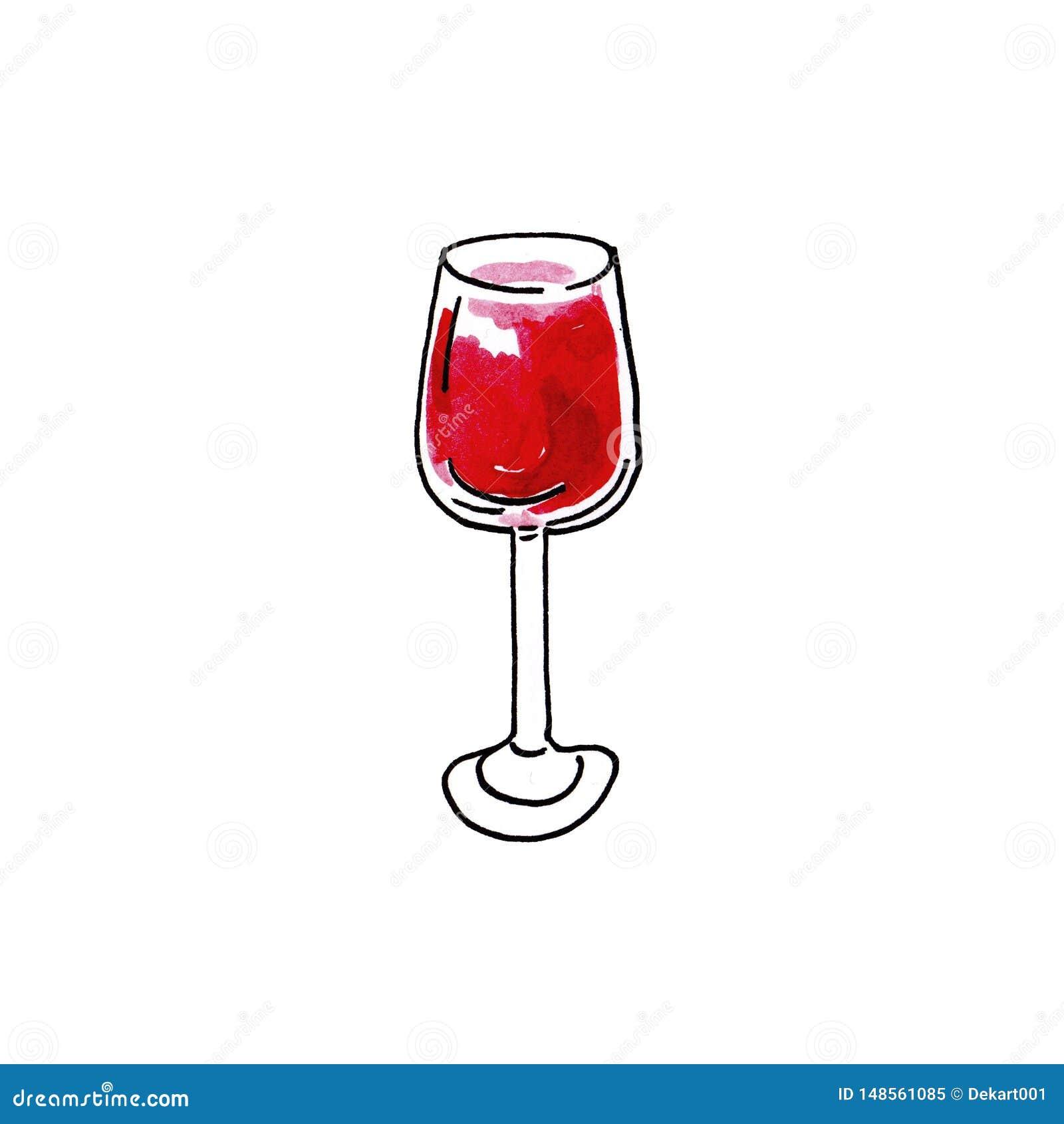 Vidrio exhausto del ejemplo de la mano de la acuarela de vino tinto en el fondo blanco
