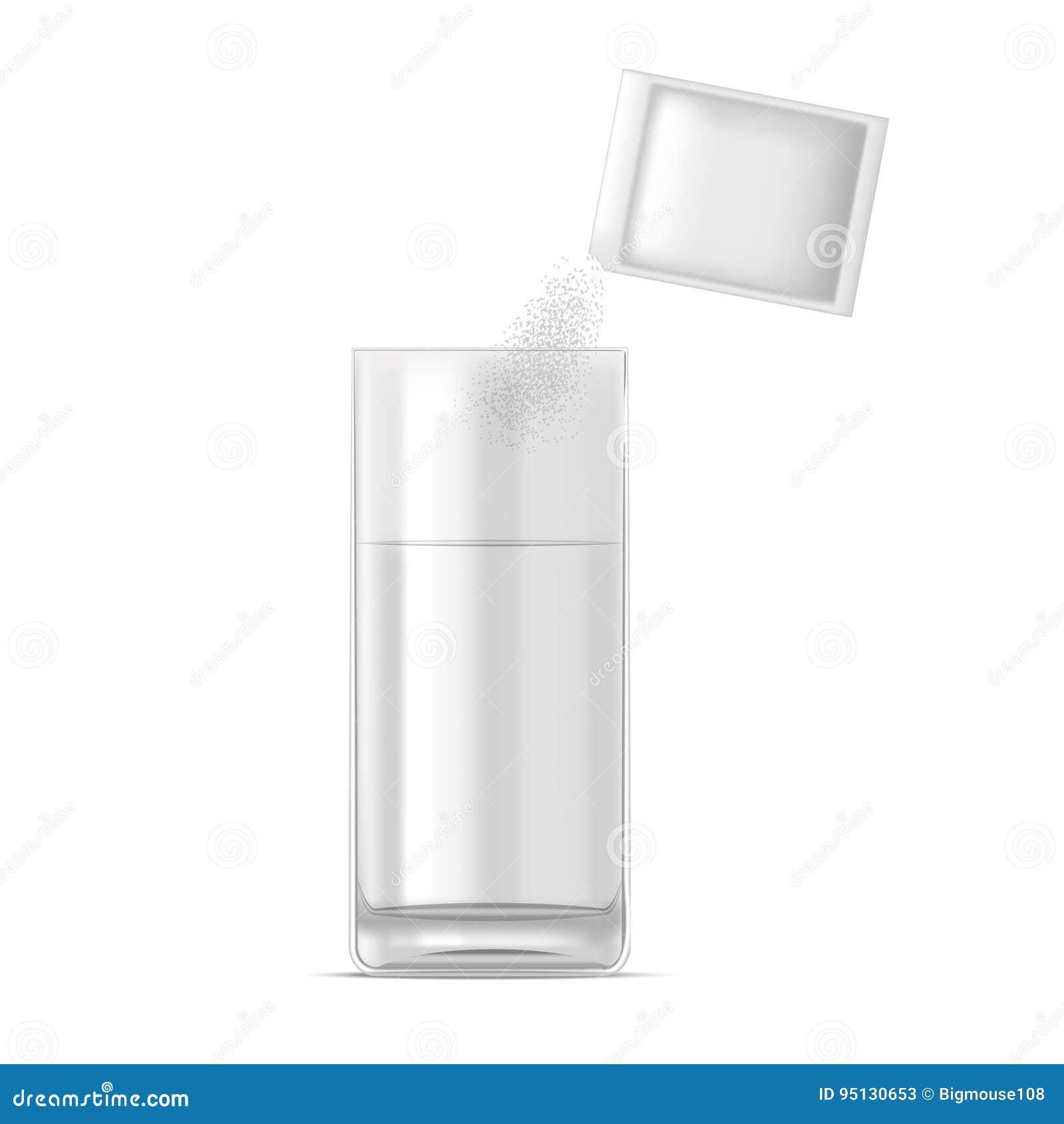 Vidrio realista de la dosis del agua y de la medicina del polvo Vector