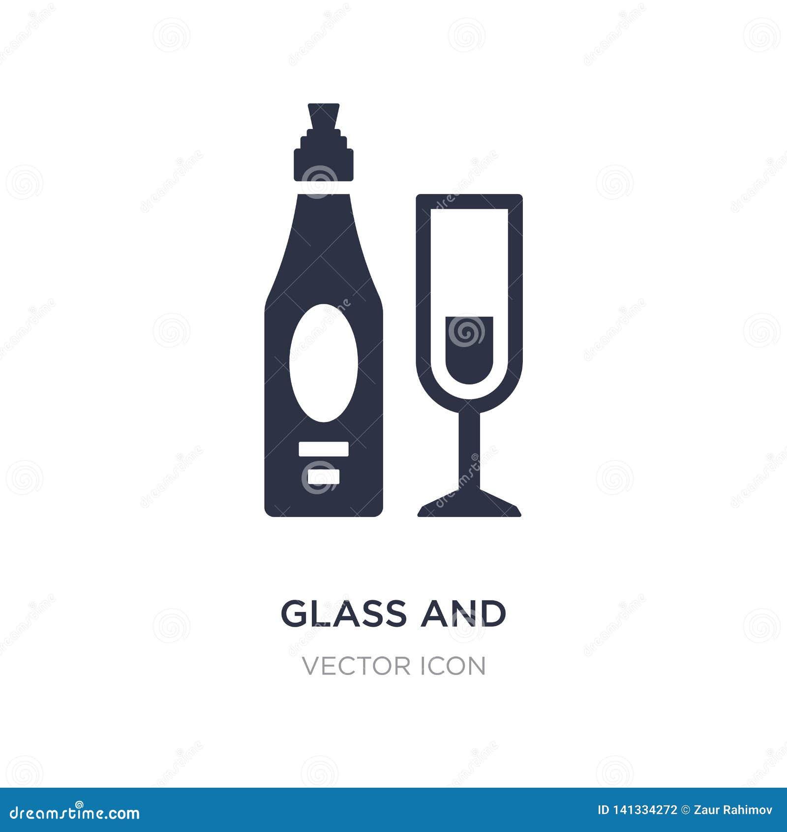 Vidrio y botella de icono del vino en el fondo blanco Ejemplo simple del elemento del concepto de las bebidas