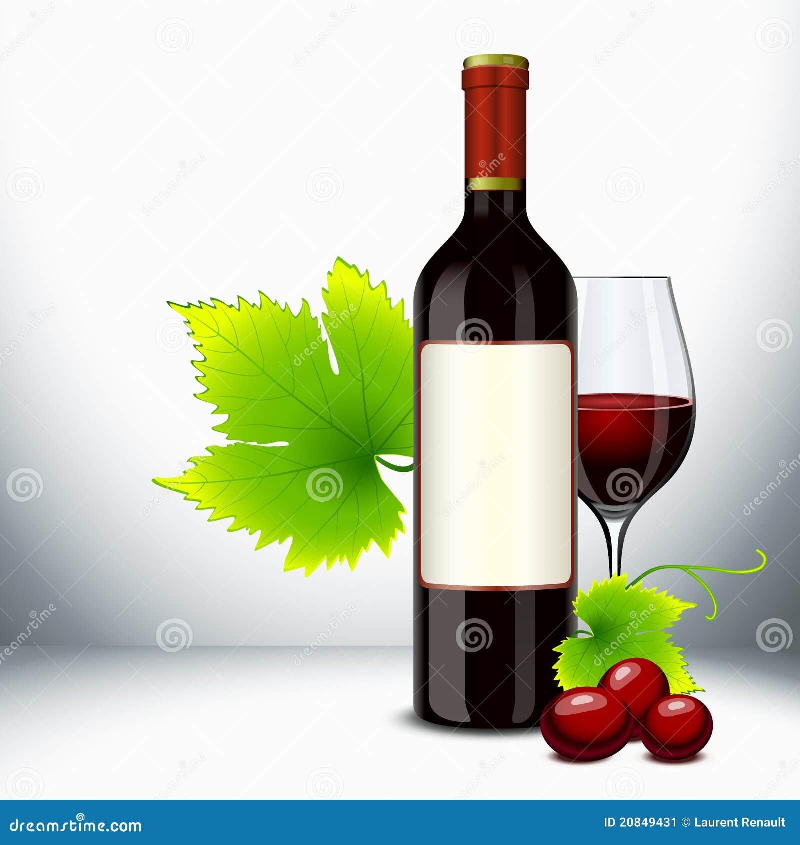 Vidrio y botella de vino rojo ilustraci n del vector - Botelleros de vino ...