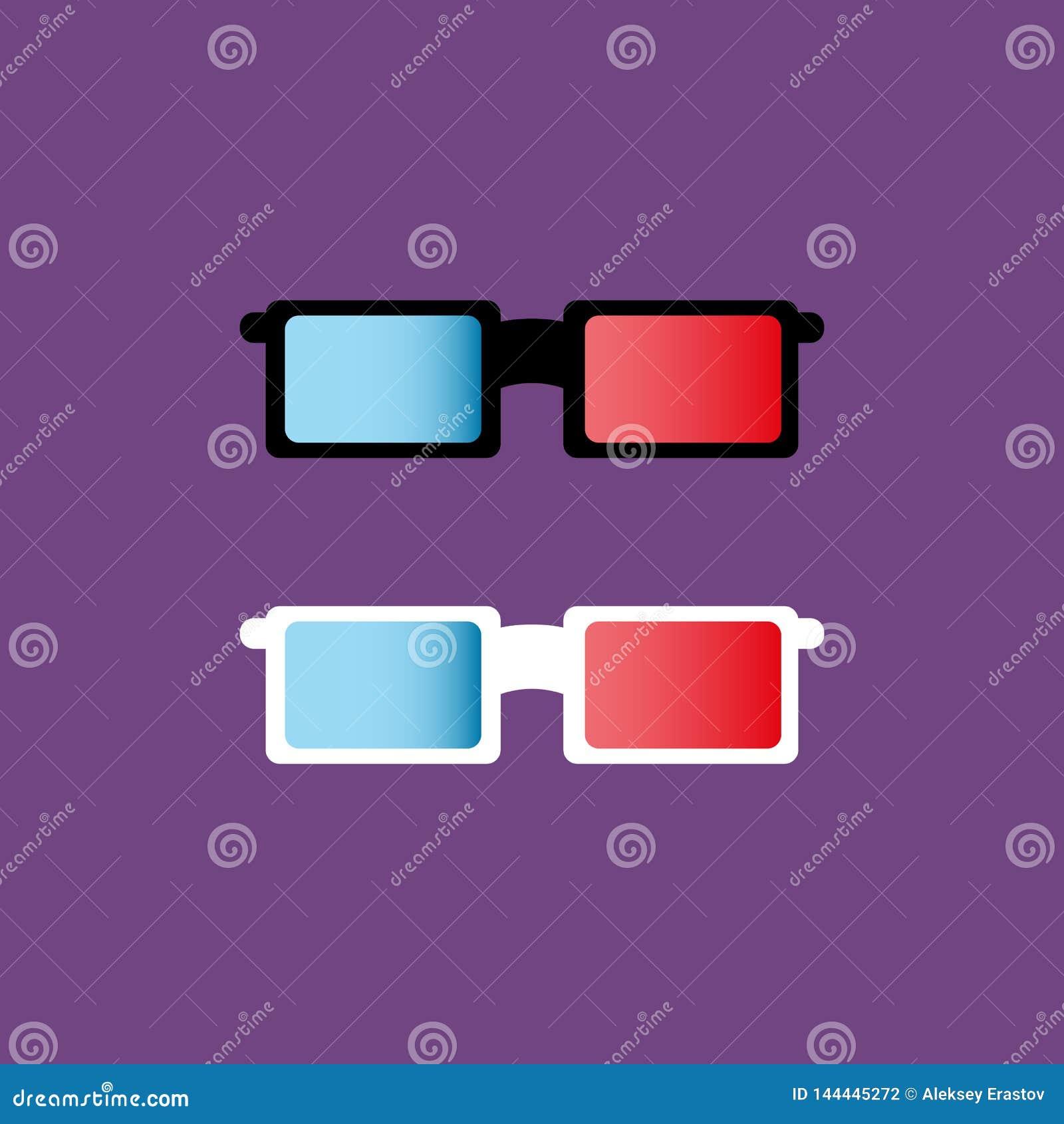 Vidrios aislados 3D Icono del color Ilustración del vector