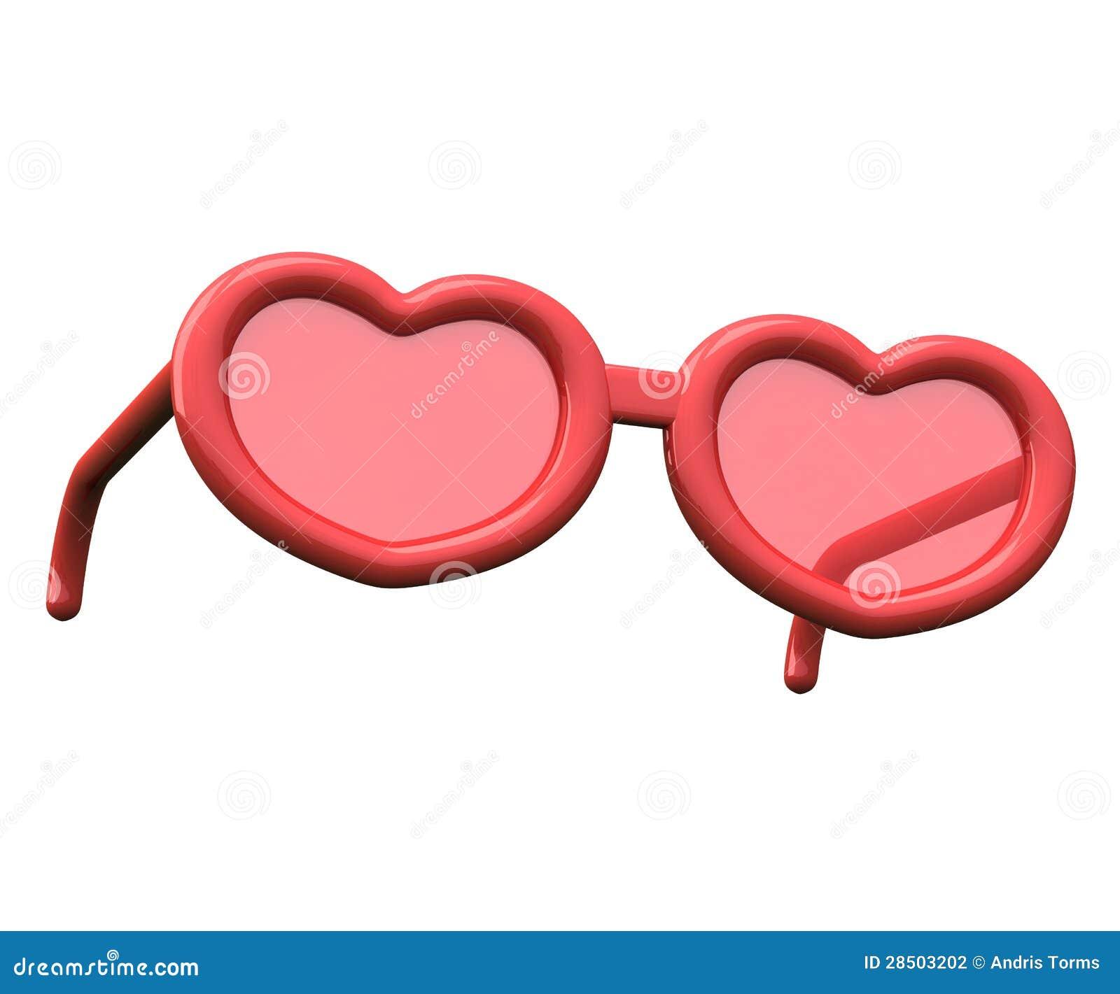 Vidrios en forma de corazón del día de tarjetas del día de San Valentín, 3d