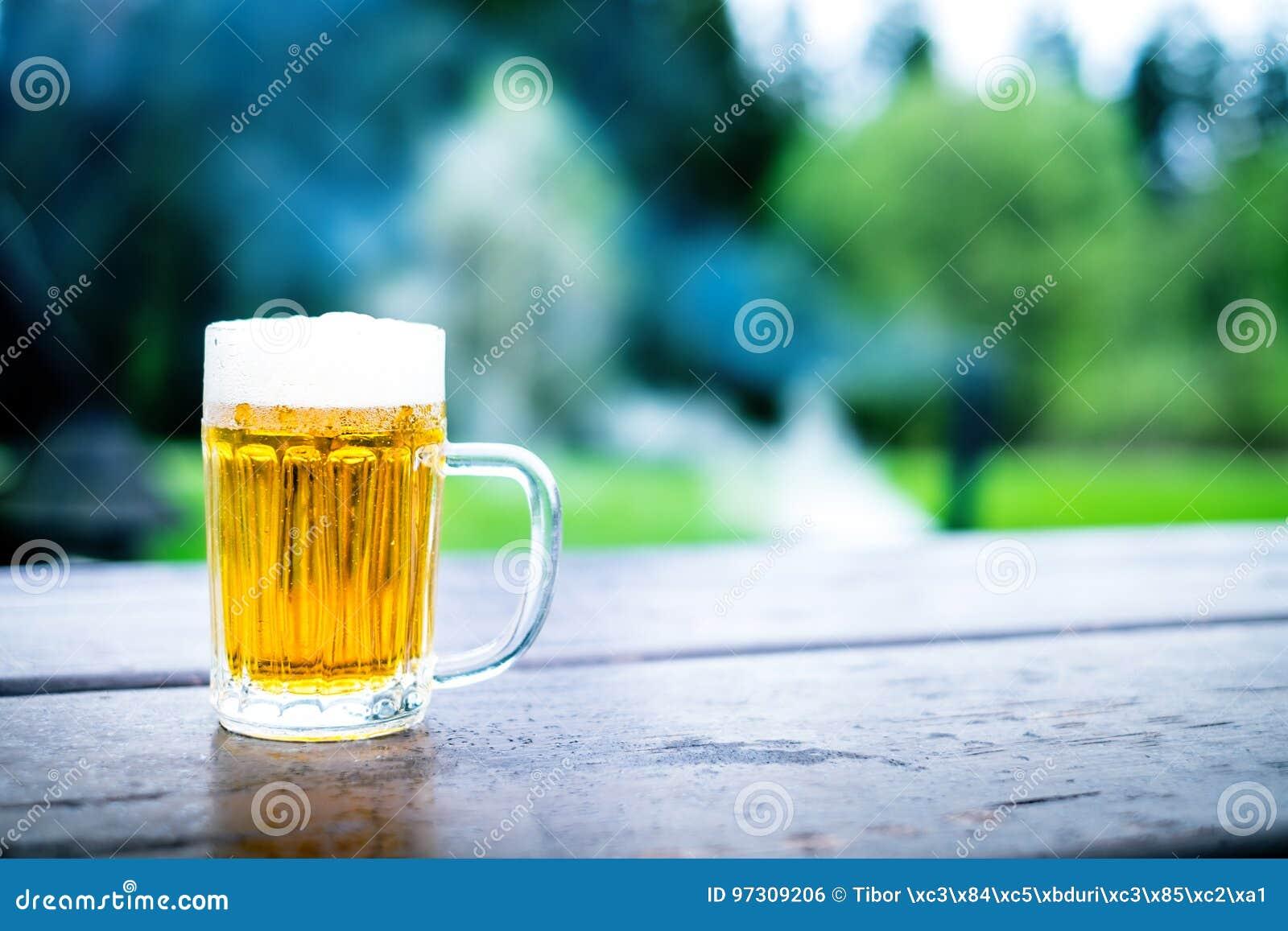 Vidro da cerveja clara com espuma em uma tabela de madeira Partido de jardim Fundo natural álcool Cerveja de esboço