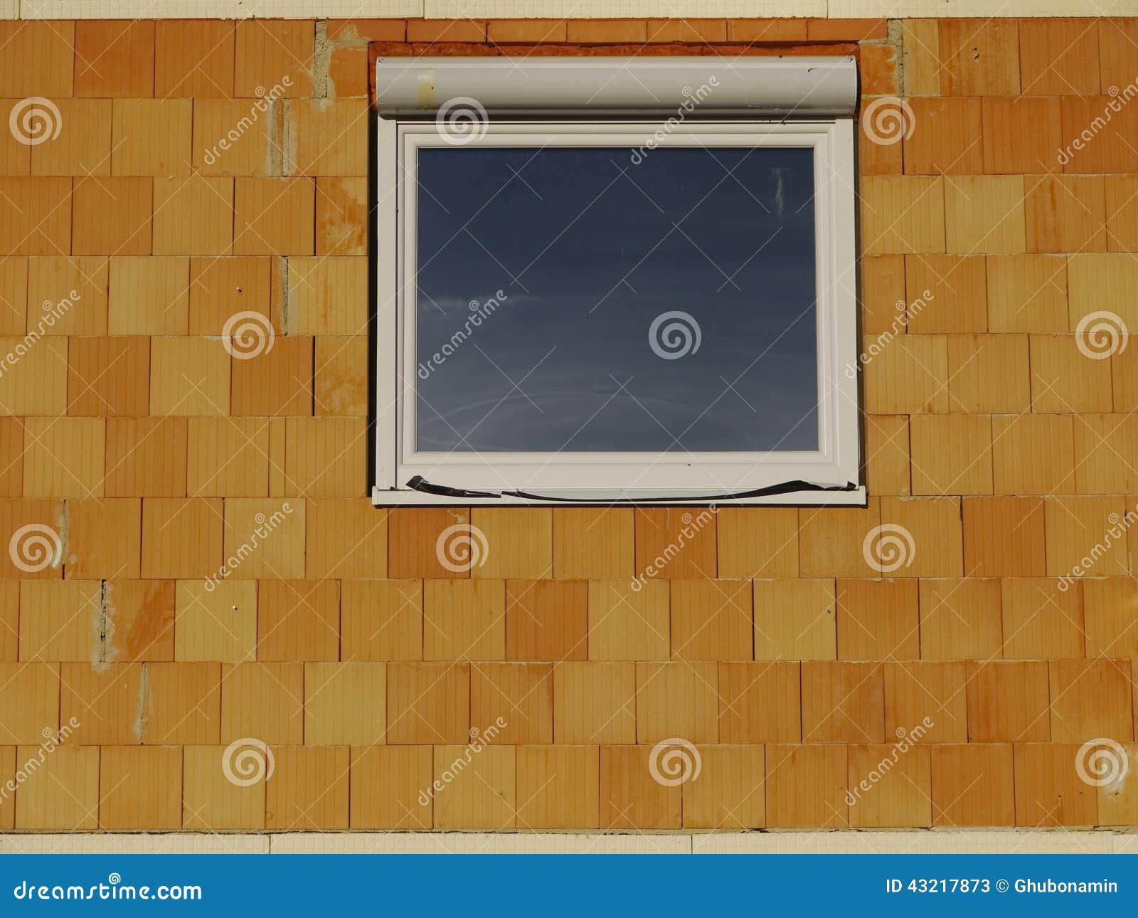 Vidro Da Parede De Tijolo Da Janela Da Casa Do Terreno De Constru O  -> Tijolo De Vidro Marrom