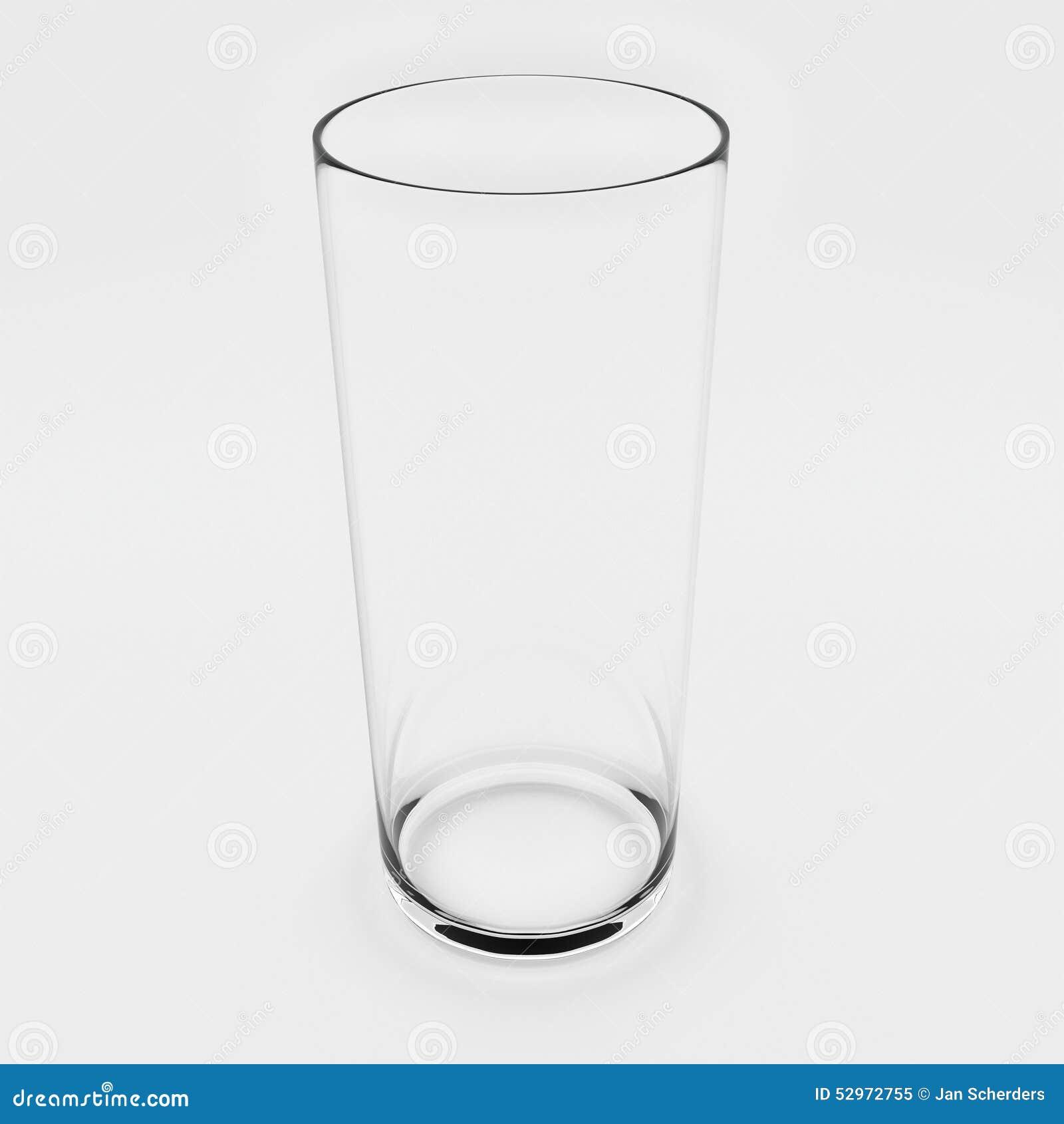 Vidro de água vazio no branco