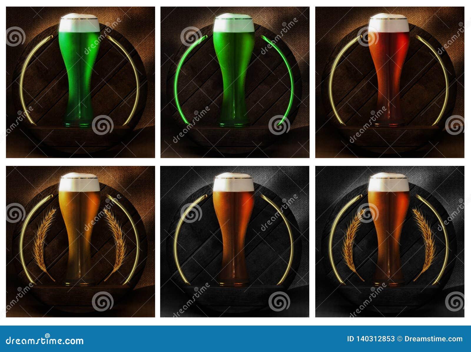 Vidro de cerveja na madeira e no fundo rústico